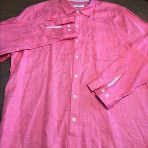 Tommy Bahama Cotton button up size XL Salmon Pink